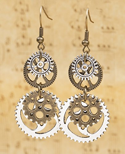 SKYPIA Antique-Bronze-Tone Gear Earrings 4