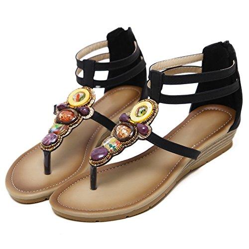 AN Womens Studded Non-Marking Dress Urethane Sandals DIU01034 Black jjDRN