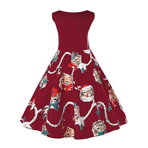 Vino Rosso Abito Donne Stampato Natale Abiti Plus Beautygal Size Gattino Novità Delle gHwfw