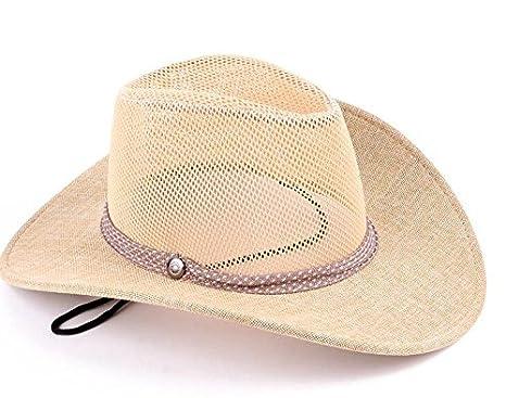 9d5e324d7a6d2 WDBS Visera de vaquero sombrero Cavalier Mongolia Prado General tapa sombrero  sombrero de verano para hombre y mujer al aire libre senderismo sombreros  ...
