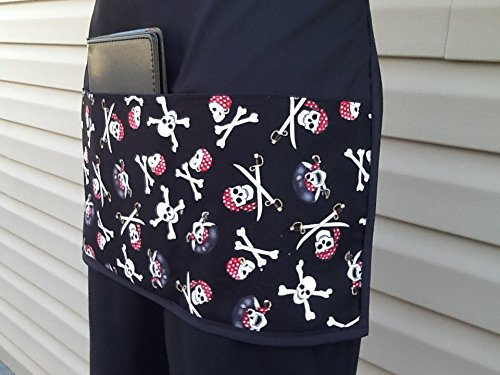 kitchen cooking Janets Aprons Waitress,waiter or Server Handmade Skull click here and scroll down to see almost 300 different aprons. and restaurants apron 3 pockets,Black half apron