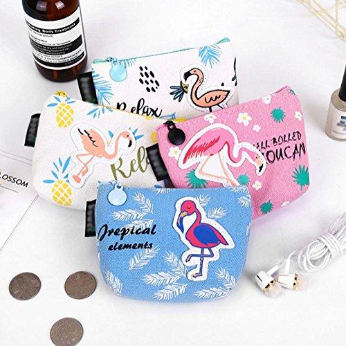Porte Bleu monnaie Cosmétique Flamants Drawihi Sac Roses Zipper fOnq1dU
