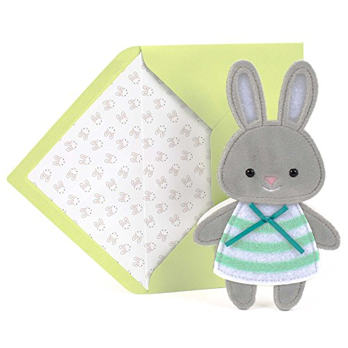 Bunny Card Greeting - Hallmark Mahagony Signature Easter Greeting Card for Kids (Cute Fuzzy Plush Bunny)