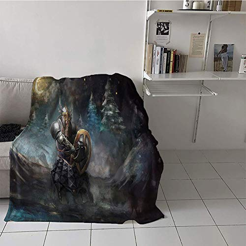 Khaki home Children's Blanket Convenience Lightweight Thermal Blankets (70 by 90 Inch,Fantasy,Medival Dwarf Knight in Gothic Shield at Battle Place Winter Illustration,Grey Light Blue Gold
