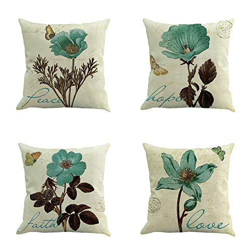 Ussuperstar Set of 4 Throw Pillow Covers Boho Hippy Elephant Tree of Life Cushion Cover Throw Floral Printed Pillow Case 18 X 18 Inch Pillowcase Multicolor (BV3)