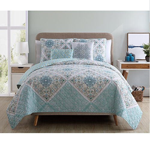 VCNY Home Windsor 5 Piece Reversible Quilt Cover Set, King,