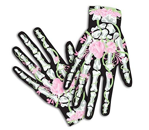 Scary Mary Skeleton Halloween Costume Gloves for Female, Hot Pink (Roses & (Skelton Gloves)