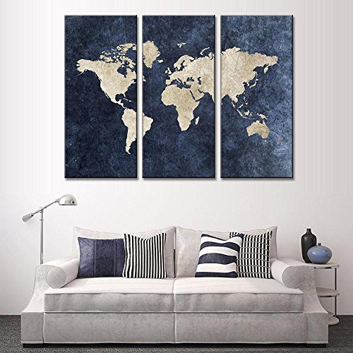 YXT ARTS Hot Modular Pictures New 3 Pcs Abstract Navy Blue World Map Canvas Painting Modern Wall Pictures For Office Room Decor Framed Painting Easy To Hang Gift 16x32 inchx3