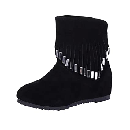 44fe6a2a063 Amazon.com: SUKEQ Ankle Boots, Fashion Women Faux Suede Tassel ...
