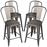 Yaheetech 24' Seat Height Tolix Style Dining Stools Chairs with Wood Seat/Top and High Backrest, Industrial Metal Counter Height Stool, Modern Kitchen Dining Bar Chairs Rustic, Gun, Set of 4