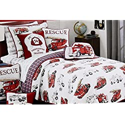2PC Fire Engine Vintage Fire Truck Twin Quilt and Sham Set Reversible