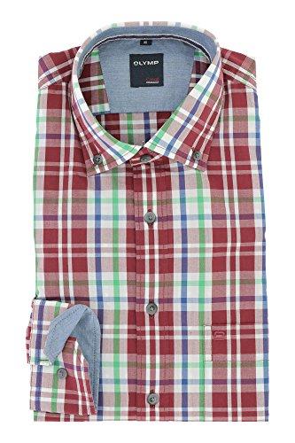 OLYMP Herren Casual Freizeithemd Langarm mit Button Down Kargen Comfort Stretch 100% Baumwolle Gr.M Rot Grün Kariert