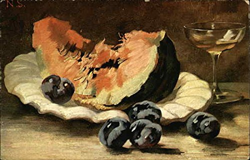 Melon Wine (Still Life of Melon Slive, Plums and Wine Glass Original Vintage Postcard)