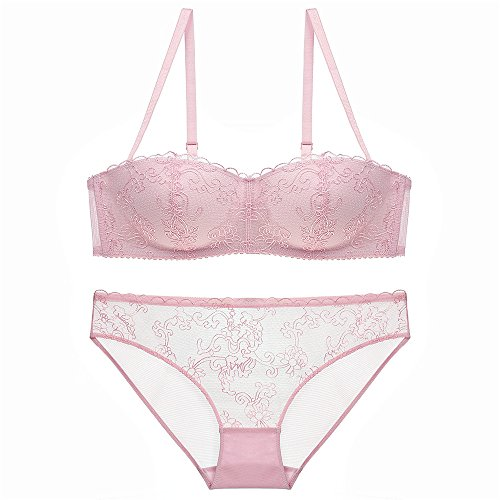 Women's Sexy Soft Lace Lingerie Underwear Floral Lace Underwire Sheer Bra and Panty Set(Pink34D)