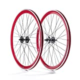 State Bicycle Fixed Gear Deep Profile Wheel Set, 700C, Red