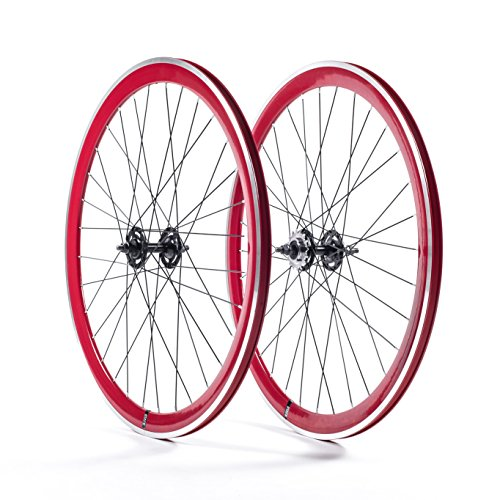 State Bicycle Fixed Gear Deep Profile Wheel Set, 700C, Red (700c Fixed Gear)