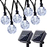 Joomer 2 Pack Globe Solar String Lights, 20ft 30 LED Solar Globe Lights,Waterproof 8 Modes Crystal Ball Lighting for Patio, Lawn, Garden, Wedding, Party, Christmas Decorations (White)
