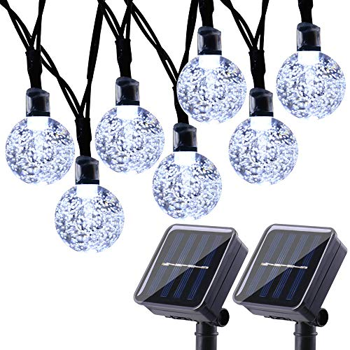 Joomer 2 Pack Globe Solar String Lights, 20ft 30 LED Solar Globe Lights,Waterproof 8 Modes Crystal Ball Lighting for Patio, Lawn, Garden, Wedding, Party, Christmas Decorations (White) (Outdoor Light Strings Solar)