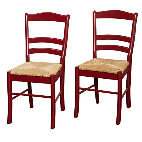 Modern Solid Wood Set of 2 Ladder Back Dining Side Chairs with Woven Rush Seats in Red Finish - Includes Modhaus Living Pen