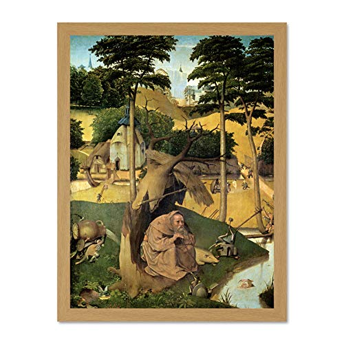 Doppelganger33 LTD Hieronymus Bosch Temptation of St Anthony Bosch Old Painting Large Framed Art Print Poster Wall Decor 18x24 inch Supplied Ready to Hang
