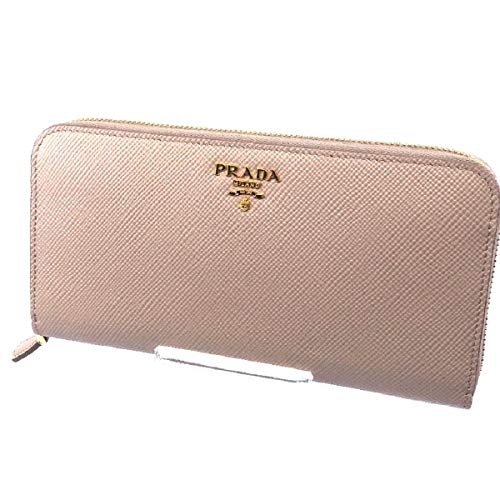(Prada Portafoglio Lampo Cipria Beige Saffiano Cuir Leather Full Zip Wallet 1ML506)