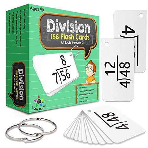 스타 오른쪽 교육 수학 부문 플래시 카드 0-12(모든 사실 156 카드)2 반지