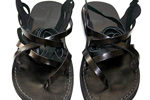 Land Leather Collection (Black Gladiator Unisex Leather Sandals / Genuine Handmade Leather Holy Land Biblical Jesus Sandals (EURO # 42))