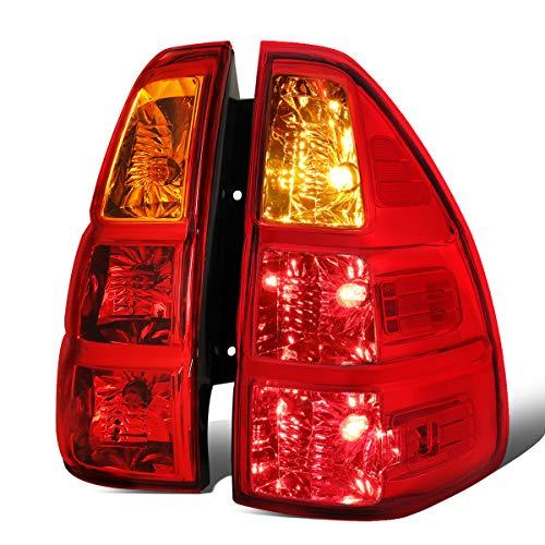 For 03-09 GX470 J120 Pair OE Style Red/Amber Housing Tail Light Rear Brake Lamps Chrome Lexus Rear Lights
