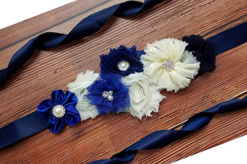 Maternity Pregnancy Sash Belt with Flower,Floral Baby Shower Belly Sash,Flower Girl Sash (A-Navy & White) ()