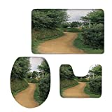 Fashion 3D Baseball Printed,Hobbits,Elf Path in Woods of Hobbit Land in The Shire New Zealand Movie Set Image Print,Green Brown,U-Shaped Toilet Mat+Area Rug+Toilet Lid Covers 3PCS/Set