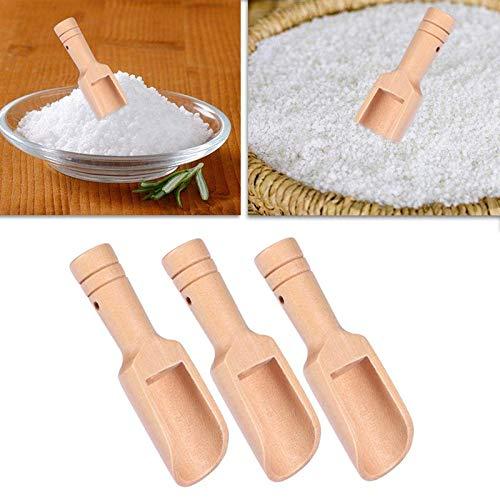 - 3pcs Mini Wooden Scoops Bath Salt Spoon Candy Flour Utensils 2 4x7 8cm - Spoons