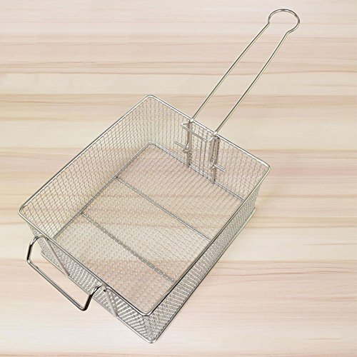 (Chip Fryer Basket, Rectangular Stainless Steel Potato Chips Serving Fry Basket, Wire Mesh French Fries Basket Cooking Oil Strainer Sifter Sieve for Chicken Chops, Shrimps, Onion Rings(silver))