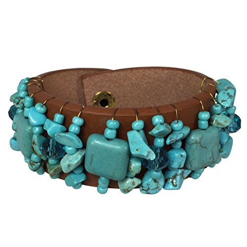 Simulated Turquoise Chip Stone Wire Wrapped Faux Leather Snap Bracelet (Brown) Bold Faux Pearl