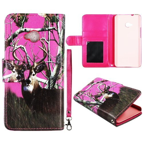 pink-deer-camo-pine-leather-flip-wallet-with-id-pouch-htc-one-m7-case-cover-phone-protector-snap-on-