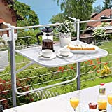 JAUTO Balcony Hanging Table 60 x 40 cm Expanded Metal and Plastic Coating Folding Table for Small Balcony Hanging Table Foldable and Weather-Resistant Outdoor Table