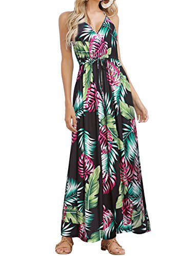 HUSKARY Womens Sleeveless V Neck Spaghetti Strap Pockets Beach Boho Tropical Summer Maxi Dress