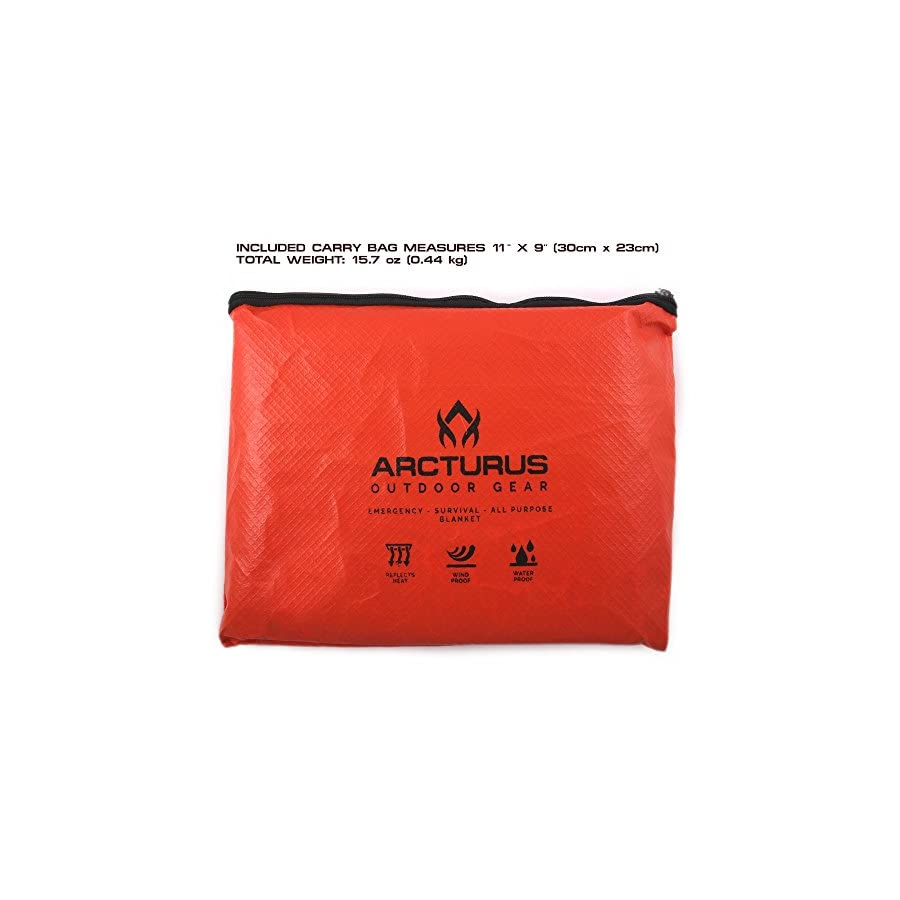 """Arcturus All Weather Outdoor Survival Blanket All Purpose, Thermal, Reflective 60"""" x 82"""""""