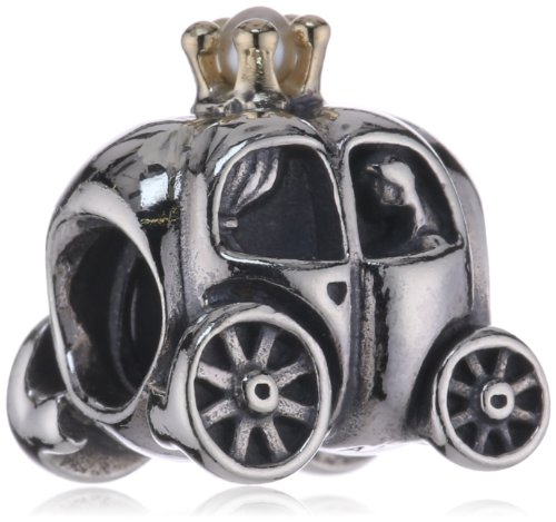 14k Gold Carriage - PANDORA Silver Royal Carriage W 14K Gold and White Pearl Charm 790598P
