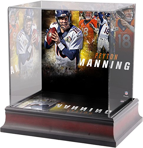 Broncos Display Cases (Sports Memorabilia Peyton Manning Denver Broncos Deluxe Mini Helmet Case - Fanatics Authentic Certified - Football Mini Helmet Free Standing Display Cases)