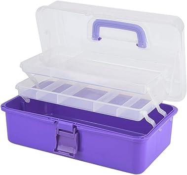 Caja de herramientas multiusos de 3 capas con bandeja y separadores para el hogar, organizador de herramientas de plástico, caja de almacenamiento plegable de 3 colores: Amazon.es: Bricolaje y herramientas