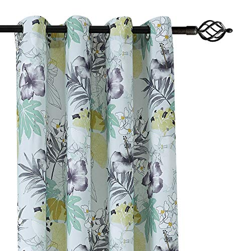 - CANIRICA Nature Floral/Leaf Printed Decorative Window Curtains for Living Room (Grey,2 Panels, 52 Inch Wide by 84 Inch Length)