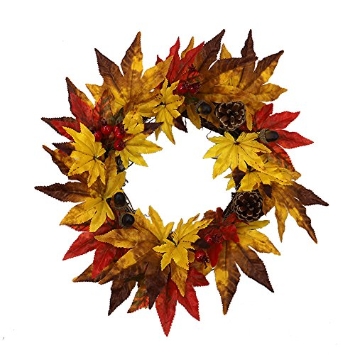 Cone Maple Leaf Fall Wreath - [35CM] Brightens Front Door Decor with Rich Fall Colors - Approved for Covered Outdoor Use ()