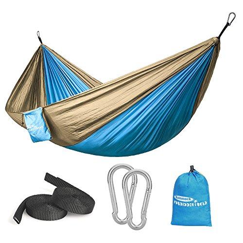 Hammock In A Bag - Forbidden Road Hammock Single & Double Camping Portable Parachute Hammock for Outdoor Hiking Travel Backpacking - 210D Nylon Taffeta Hammock Swing (Blue & Yellow)