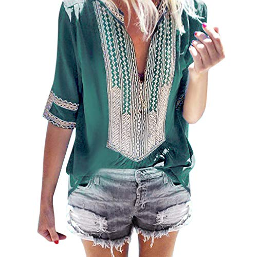 Sunyastor-Top for Women,Women's Summer Boho Embroidered V Neck Short Sleeve Casual T-Shirt Tops Loose Casual Blouses Green