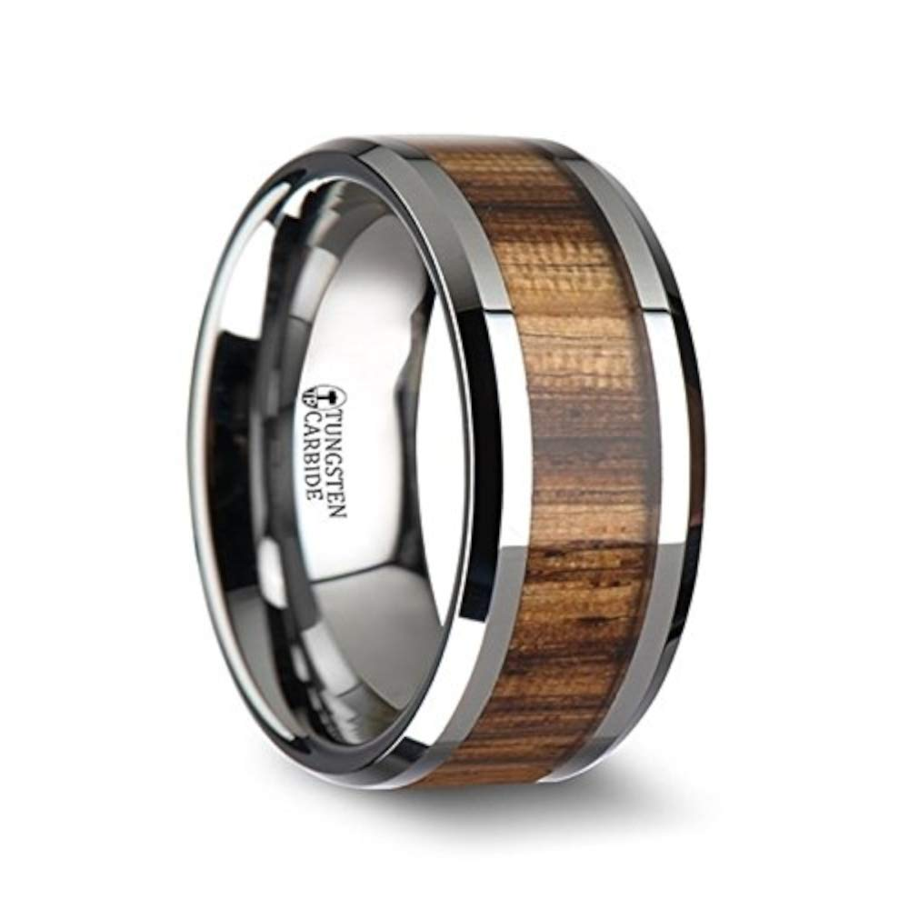Amazon Thorsten Rings Palmaletto Tungsten Carbide Wedding Ring With Real Zebra Wood Inlay And Polished Beveled Edges Fort Fit Wooden Band: African Wood Wedding Rings At Reisefeber.org