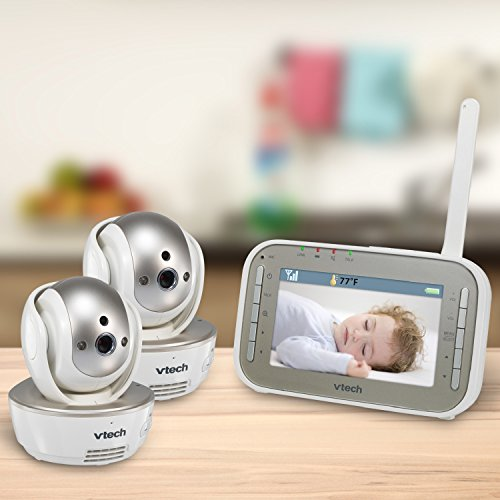 Image of the VTech VM343-2 Video Baby Monitor with Automatic Infrared Night Vision, Pan/Tilt/Zoom, Two-Way Audio & 1,000 feet of Range with 2 Cameras