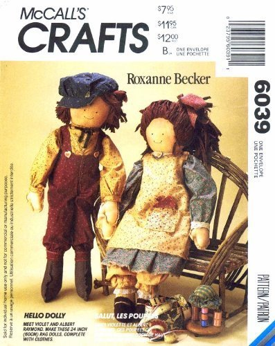 McCall's 6039 Crafts Sewing Pattern Rag Dolls by McCall's