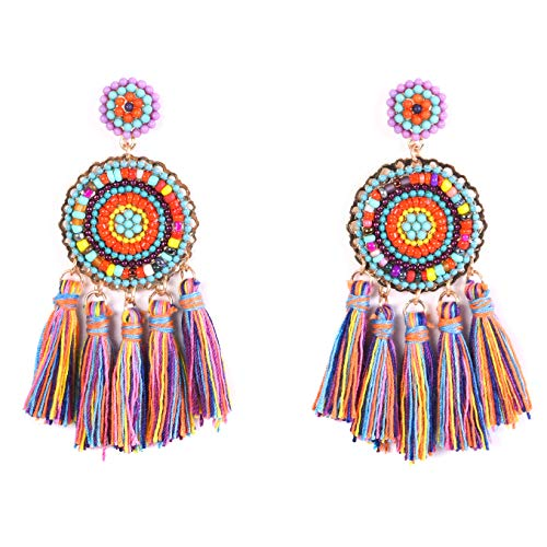RIVERTREE Beaded Tassel Earrings for women - Colorful Chandelier Seed Beads Statement Fringe Disc Top Dangle Drop Earring Boho Multi Color