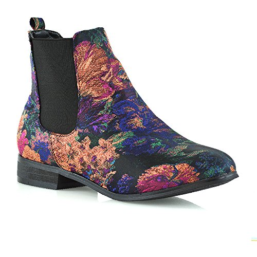 Essex Glam Block Chelsea Faux Heel Suede Elasticated Floral Womens Boots OOTgRqr