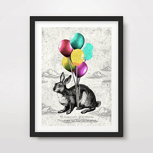 BUNNY RABBIT BALLOONS QUIRKY WEIRD ODD FUNNY ECCENTRIC ANIMAL ILLUSTRATION DRAWING ART PRINT Poster Home Decor Design Wall Picture A4 A3 A2 (10 Size Options)